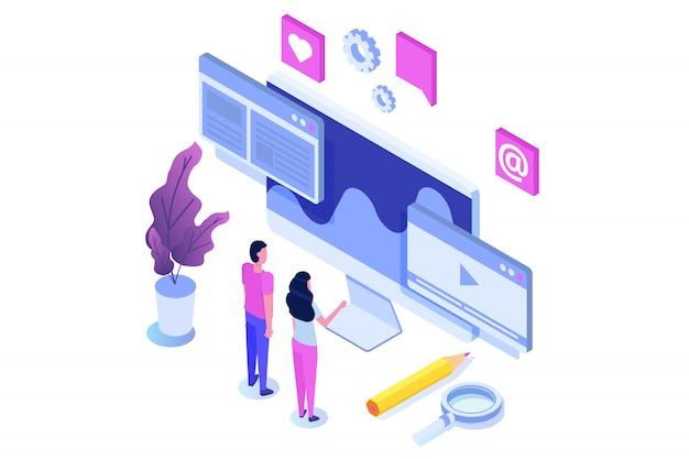 Web seo otimização ilustração conceito isométrico. modelo de página de destino. adesivo para banner web, página web, banner, apresentação, mídias sociais, documentos, cartões, cartazes.
