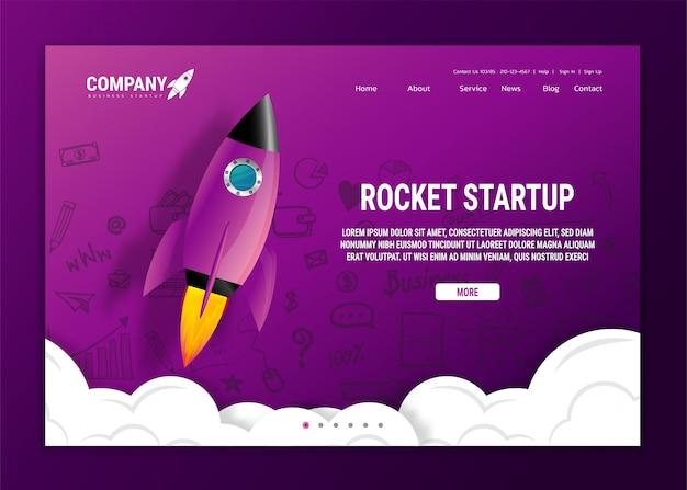 Web site da aterrissagem do web site com foguete. inicialização e desenvolvimento de projetos de negócios modernos