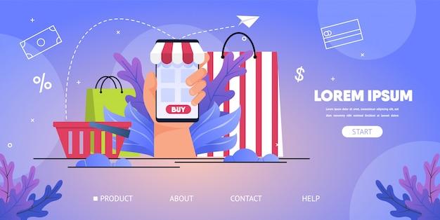 Web site do vetor da aplicação móvel da loja em linha