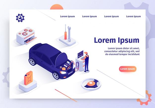 Web site do vetor do serviço de diagnósticos do computador do carro