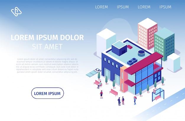Web site isométrico do vetor do centro de negócios de coworking