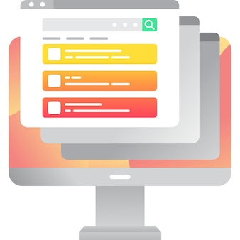 Web site plano do navegador on-line do ícone do computador vetorial