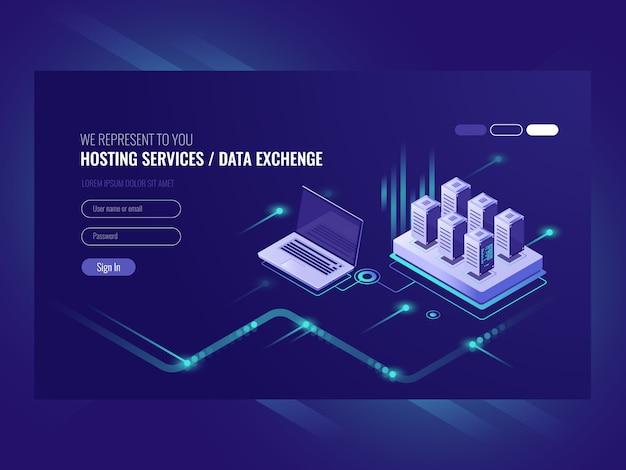 Web sites que hospedam serviços, rack de sala de servidores, data center, pesquisa de dados