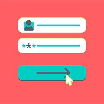 Web template e elements para formulário de site de assinatura de e-mail, newsletter ou login para conta, enviar. vetor