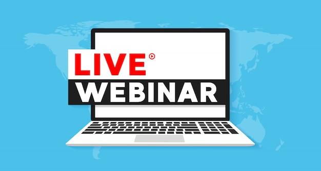 Webinar ao vivo conceito banner ilustração plana