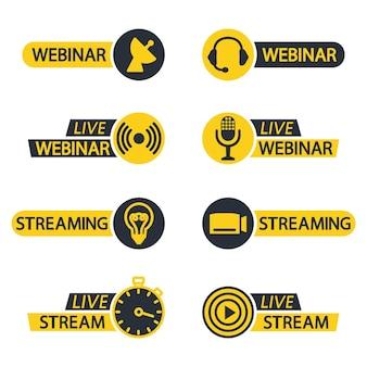 Webinar ao vivo e ícones de botão de transmissão ícones planos para videoconferência, webinar, chats de vídeo, etc.