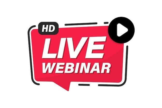 Webinar ao vivo. evento na internet, conferência. streaming de vídeo ao vivo. streaming online. botão de streaming de vídeo ao vivo. estudo online, educação, seminário