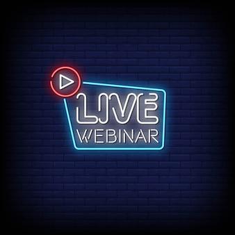 Webinar ao vivo sinais de néon estilo texto