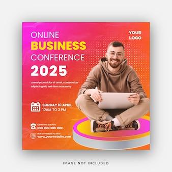 Webinar de conferência de negócios online postagem de mídia social ou banner quadrado da web
