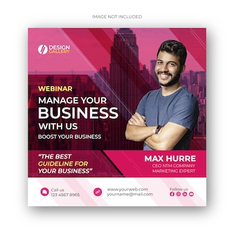 Webinar de marketing digital ao vivo em mídia social pós design de banner