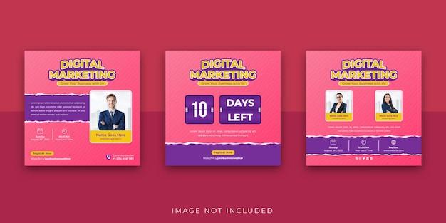Webinar de marketing digital para negócios em mídias sociais modelo de postagem no instagram torn papper