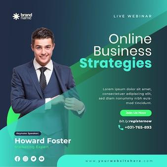 Webinar de negócios ao vivo e modelo de postagem de mídia social corporativa