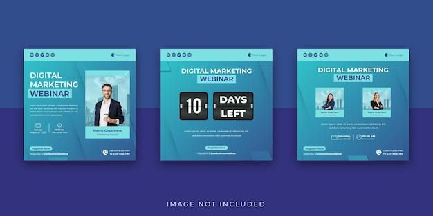 Webinar de negócios de marketing digital modelo de postagem no instagram de mídia social