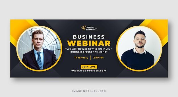 Webinar de negócios para conferências de mídia social banner da web de cobertura Vetor Premium