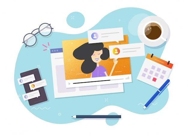 Webinar em vídeo assistindo conceito on-line na mesa de trabalho