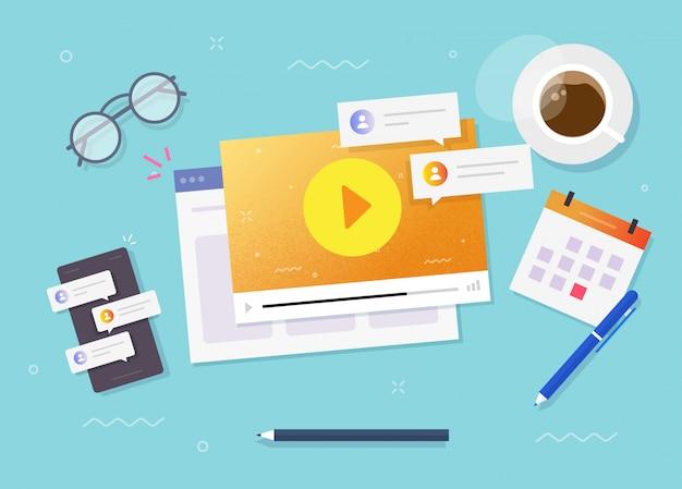 Webinar em vídeo assistindo o conceito on-line na vista de mesa de trabalho