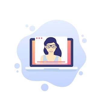 Webinar, ilustração de educação e treinamento on-line