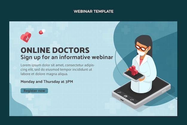 Webinar médico on-line de design plano