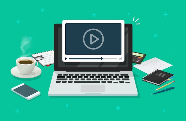Webinar no local de trabalho e mesa de trabalho com computador laptop assistindo o player de vídeo como educação on-line ou aprendizagem plana dos desenhos animados