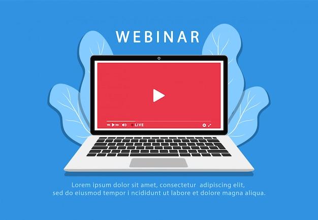 Webinar sobre laptop. educação online. tutoriais em vídeo. quarentena. fique em casa. estilo simples.