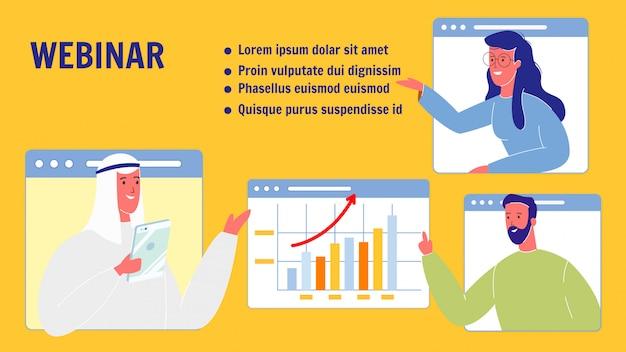 Webinar vector web banner modelo com espaço de texto
