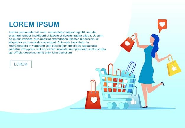 Webpage anunciando m-commerce com mulher feliz