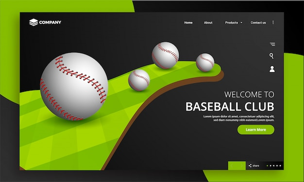 Website do clube de beisebol.