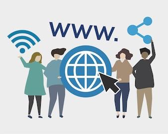 Website e ilustração de presença online