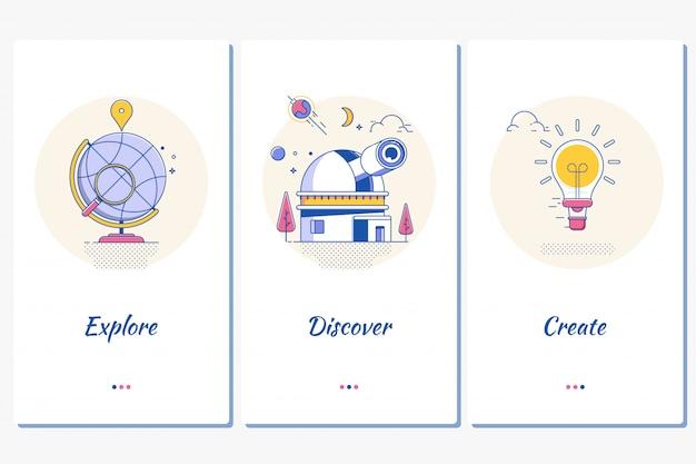 Website ou página de destino de aplicativos para dispositivos móveis dicover explore create
