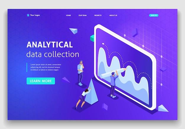 Website template landing page coleta de dados analíticos do conceito isométrico, trabalho em equipe. fácil de editar e personalizar.