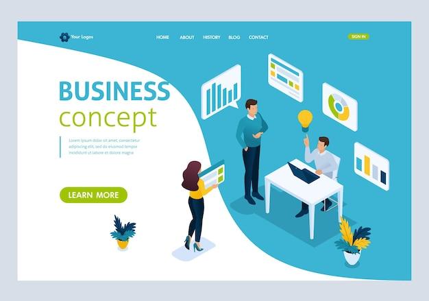 Website template landing page conceito isométrico damos vida à ideia, criação e implementação de ideias. fácil de editar e personalizar, ui ux