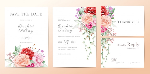 Wedding invitation template conjunto de buquê de flores