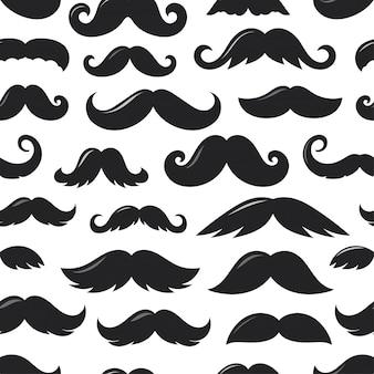 Wedges pretos de bigode v sem costura padrão