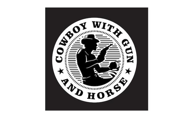 Western cowboy emblem / stamp design de logotipo