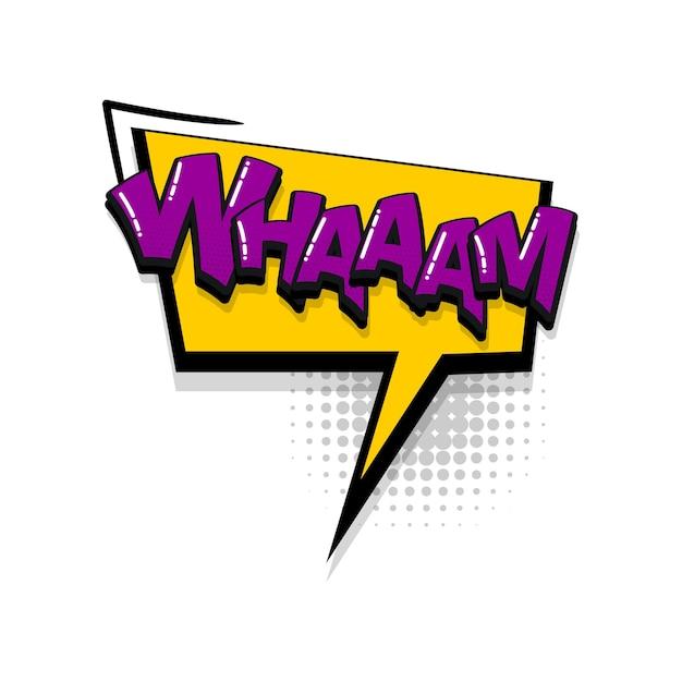 Wham com efeitos sonoros de texto em quadrinhos estilo pop art vector discurso bolha palavra desenho animado