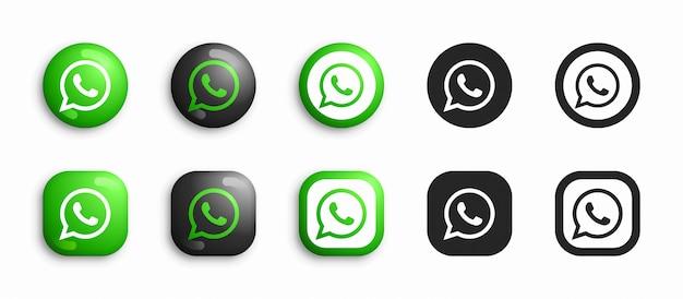 Whatsapp moderno 3d e conjunto de ícones plana