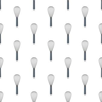 Whisk seamless pattern em um fundo branco. ilustração em vetor tema utensílio de cozinha