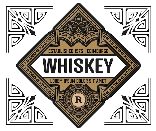 Whiskey label vintage retrô
