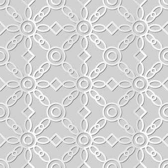 White paper art round cross frame check flower, fundo de padrão de decoração elegante para cartão de banner da web
