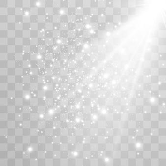 White sparks glitter light effect. partículas de poeira mágica cintilantes.