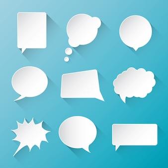 White vector comunicação discurso borbulhante nuvens com liso e longo sombra