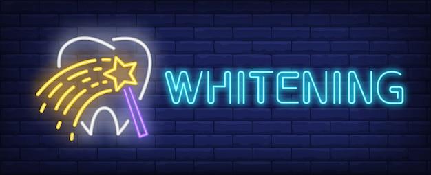 Whitening texto de néon com dente e varinha mágica