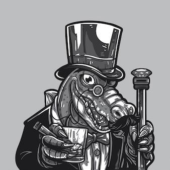 Whoigator gentleman drinking whisky