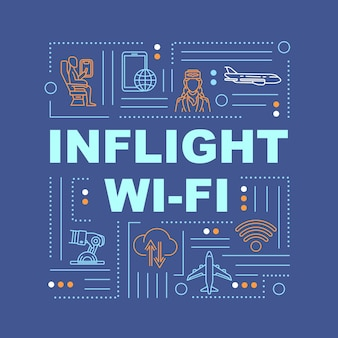 Wi-fi a bordo, internet em banner de conceitos de palavra de avião. roamer, serviço de passageiros. infográficos com ícones lineares sobre fundo azul. tipografia isolada. ilustração de cor rgb de contorno vetorial