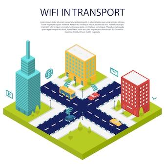 Wi-fi em banner de conceito público de transporte, estilo isométrico
