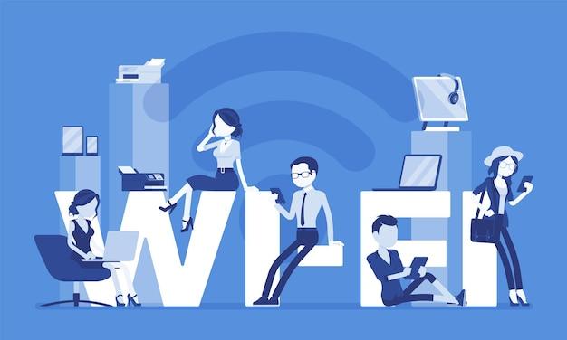 Wi fi letras gigantes e pessoas. grupo de homens felizes aproveita espaço livre para computadores, smartphones, aparelhos com conexão a internet, comunicação sem fio. ilustração vetorial, personagens sem rosto