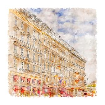 Wien viena áustria ilustração em aquarela de esboço desenhado à mão