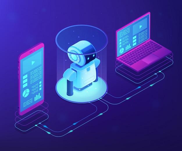 Wifi controlado ilustração isométrica do conceito de robótica.