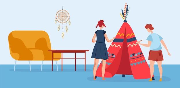 Wigwam na sala de crianças ilustração vetorial garoto menino menina personagem brincar em casa design plano filho irmão irmã perto da tenda tenda