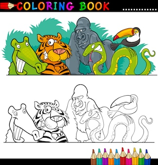 Wild jungle animals for coloring